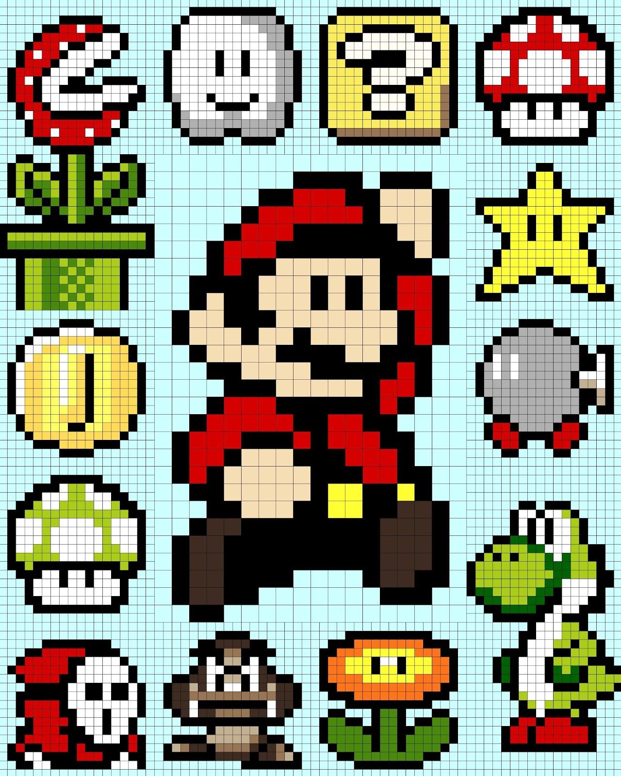 Mario 16 Bit Grid | www.imgkid.com - The Image Kid Has It!