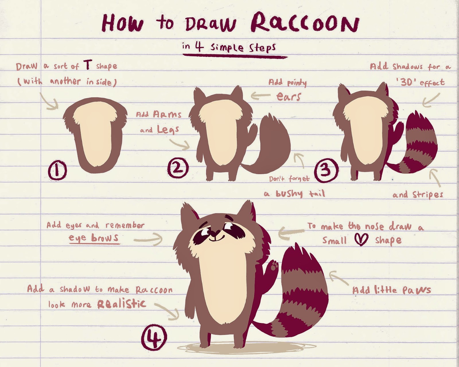 how to draw a raccoon with emily fox