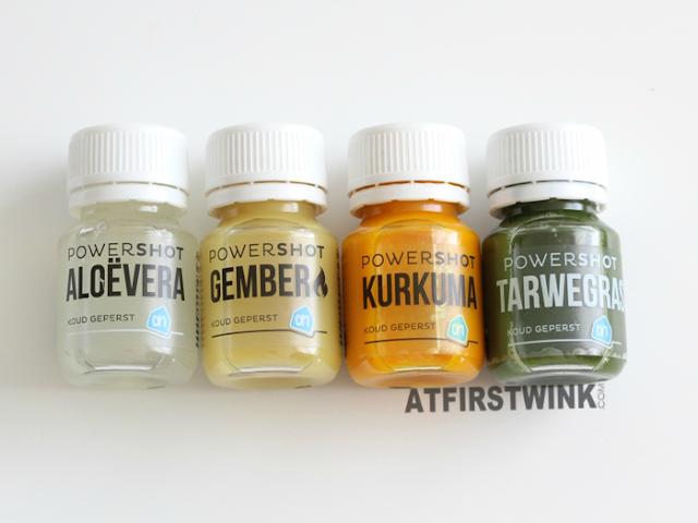Review: Albert heijn to go powershots - Aloe vera, gember, kurkuma, tarwegras