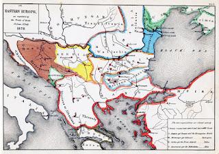 Karta Balkana iz 1878 godine