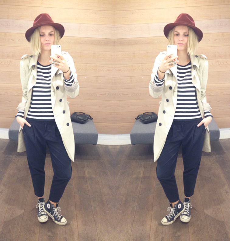 Style selfie, striped Uniqlo top, Tibi pinstripe cropped trousers, Zara trench coat, beat up Converse Chuck Taylors, Bailey of Hollywood wide brim hat