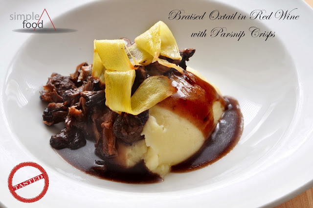 Braised Oxtail in Red Wine with Parsnip Crisps ~ Simple Food