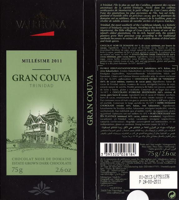 tablette de chocolat noir dégustation valrhona noir de domaine gran couva trinidad 2011