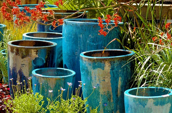 Image Result For Tall Blue Ceramic Planters