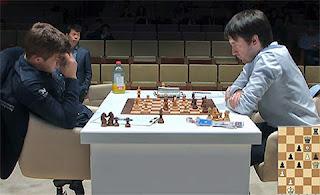 Echecs : Magnus Carlsen 0-1 Teimour Radjabov au Mémorial Vugar Gashimov - Photo site officiel