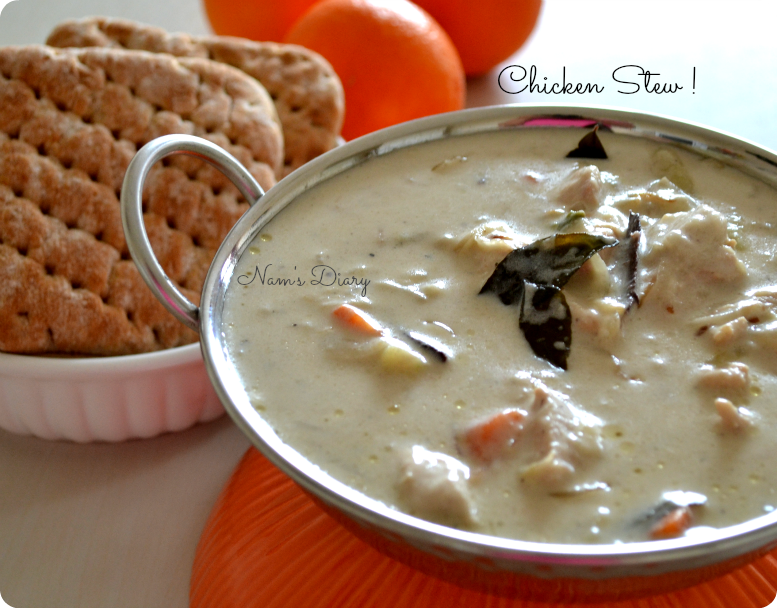 Chicken Stew {Kerala style} with bread