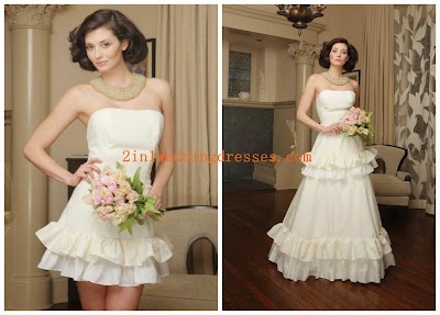 Satin Strapless with Layers of Ruffles A-Line 2 in 1 Wedding Gown