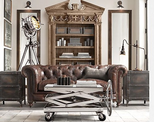 Dirtbin designs industrial chic office inspiration Metal living room furniture