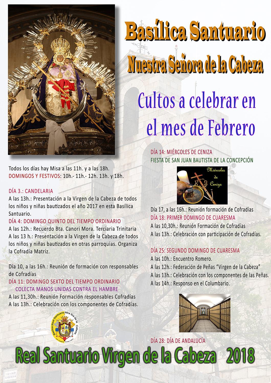 CULTOS FEBRERO 2018 EN EL SANTUARIO.