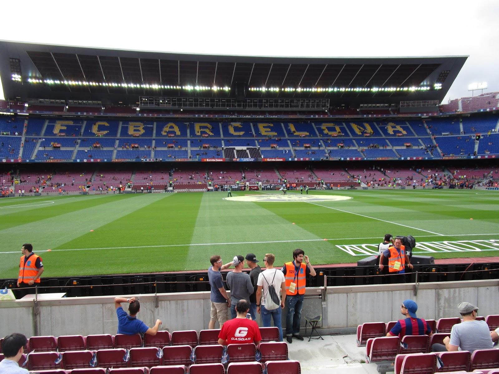 FC Barcelona spelled out in the seats at Camp Nou