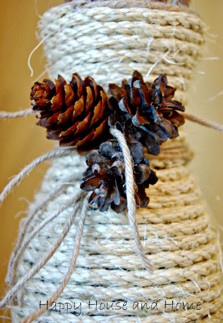 http://happyhouseandhome.blogspot.com/2013/10/jute-vase-from-old-unused-carafe.html