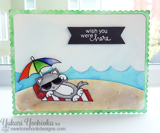 Summer Cat on Beach Card by Yukari Yoshioka | Newton's Summer Vacation stamp set by Newton's Nook Designs