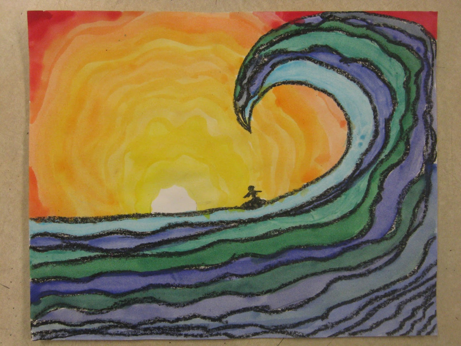 Miss Youngs Art Room 6th Grade Ocean Paintings With Contrasting Colors