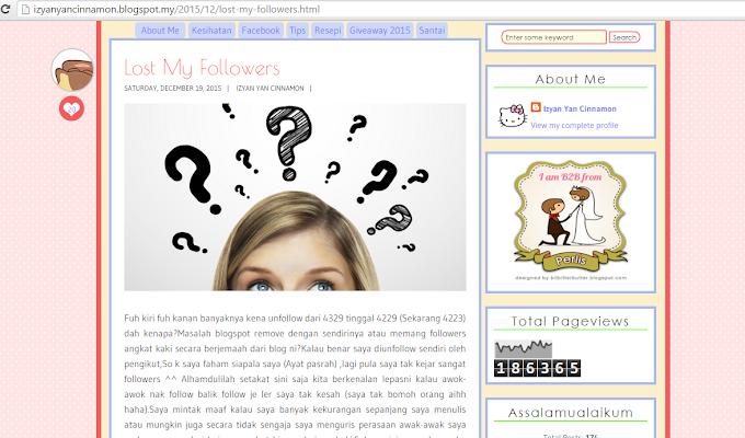 Riuh !! Followers Blog Berkurangan !