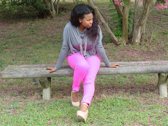How to wear neon, H&M neon pants, J.Crew garment dyed pants