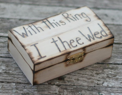rustic wooden ring bearer box