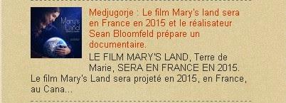 Medjugorje : Le film Mary's land sera en France en 2015