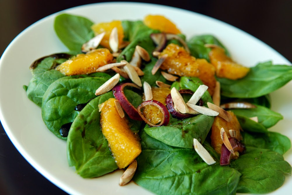 Delicious Dinner, fresh Salad, tasty spinach salad with orange,