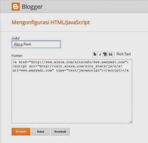 Solusi Cara Membuat Widget Alexa di Blog 2014