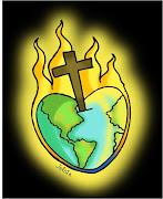 . los Bautizados para hacer el bien y dar paz y amor a todas las naciones. mundo corazã³n cruz