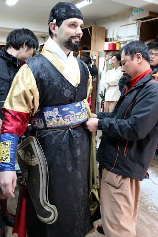 Complementos del traje tradicional de un guardia coreano de Joseon