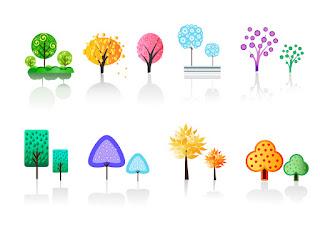 影付き樹木のシンボル trees collection イラスト素材