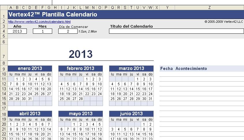 Tecnología habitual: Calendario perpetuo en excel
