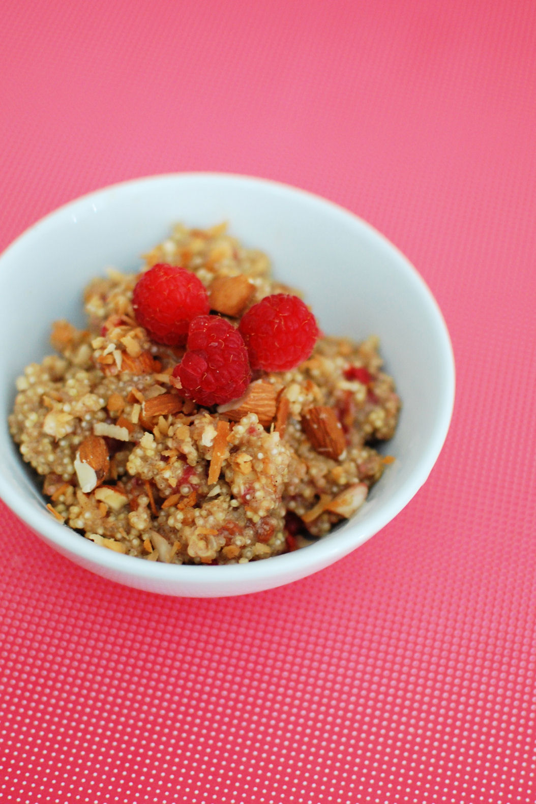 Raspberry Almond Coconut Breakfast Quinoa | Beantown Baker