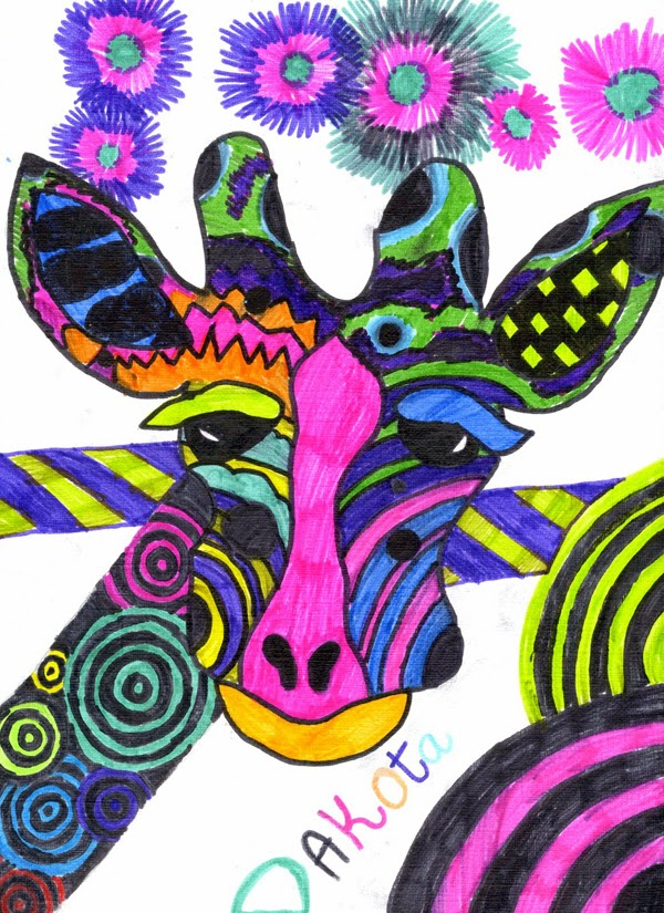 kid's art - giraffes - from spittin toad