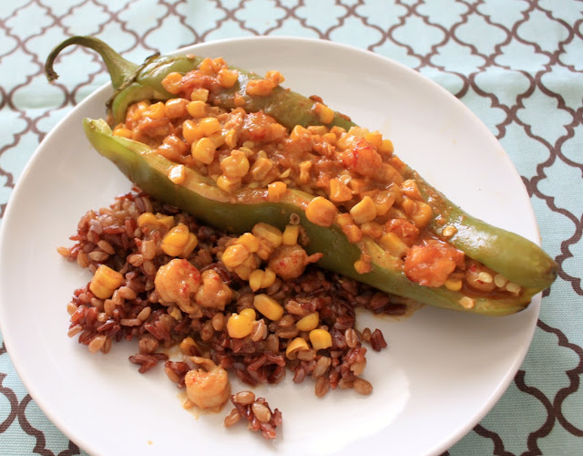 hatch chiles stuffed with crawfish, corn and cheddar