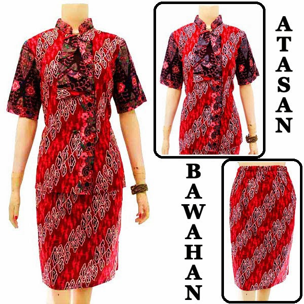 DB3757 Model Baju Dress Batik Modern Terbaru 2014