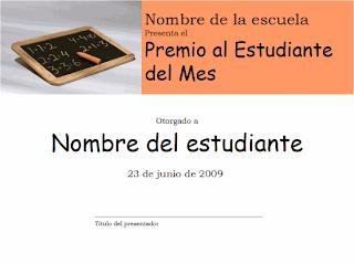 Descargar plantilla Premio al estudiante del mes, modelos, formatos, ejemplos, powerpoint