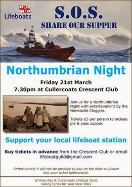 Poster for the Northumbrian Night in aid of the Cullercoats Lifeboat