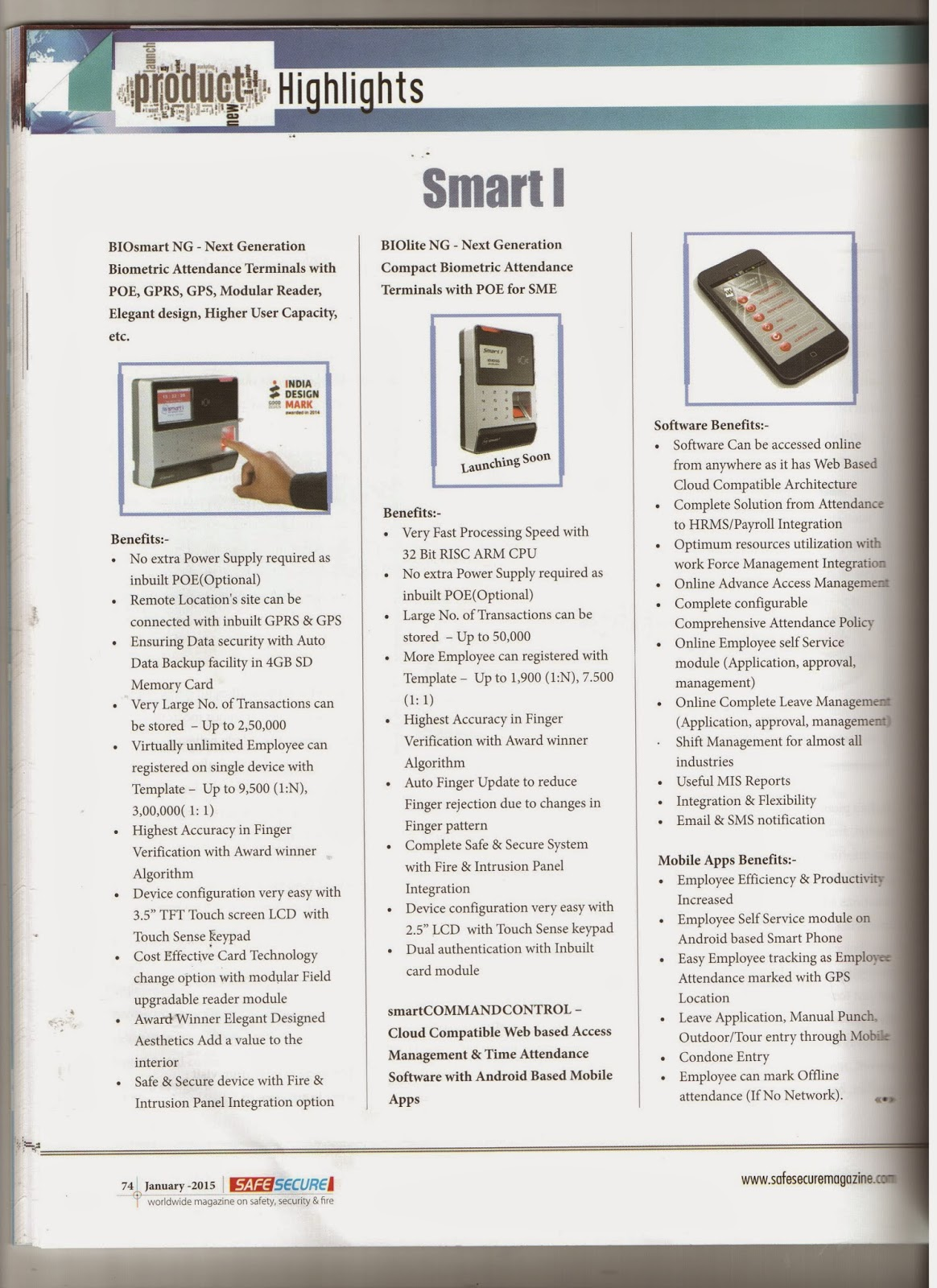 Smart I Electronics Systems Pvt Ltd 2015 Biolite Wiring Diagram Article Product Write Up Published In Safe Secure Magazine January Issue