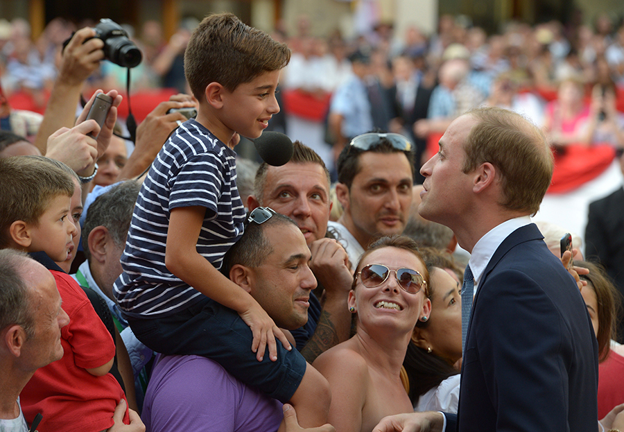 William, who was stepping in for the Duchess of Cambridge, née Kate Middleton, whose acute morning sickness meant she was too ill to make the trip, was met by President Marie Louise Colerio Preca.
