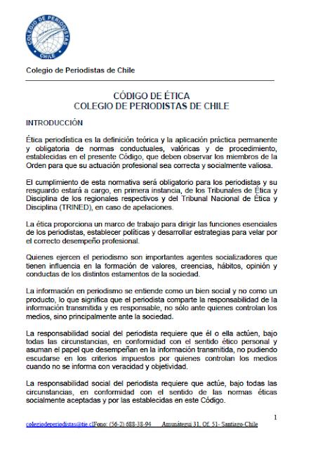 Nuevo Código de Ética del Colegio de Periodistas de Chile
