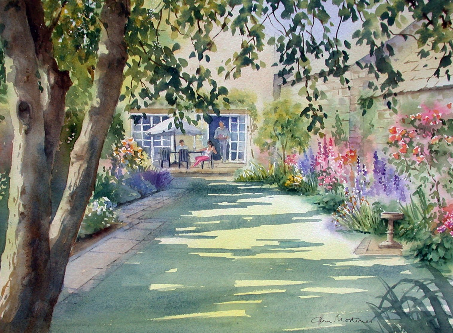 Ann 39 s watercolour studio walled garden step by step for Watercolor steps