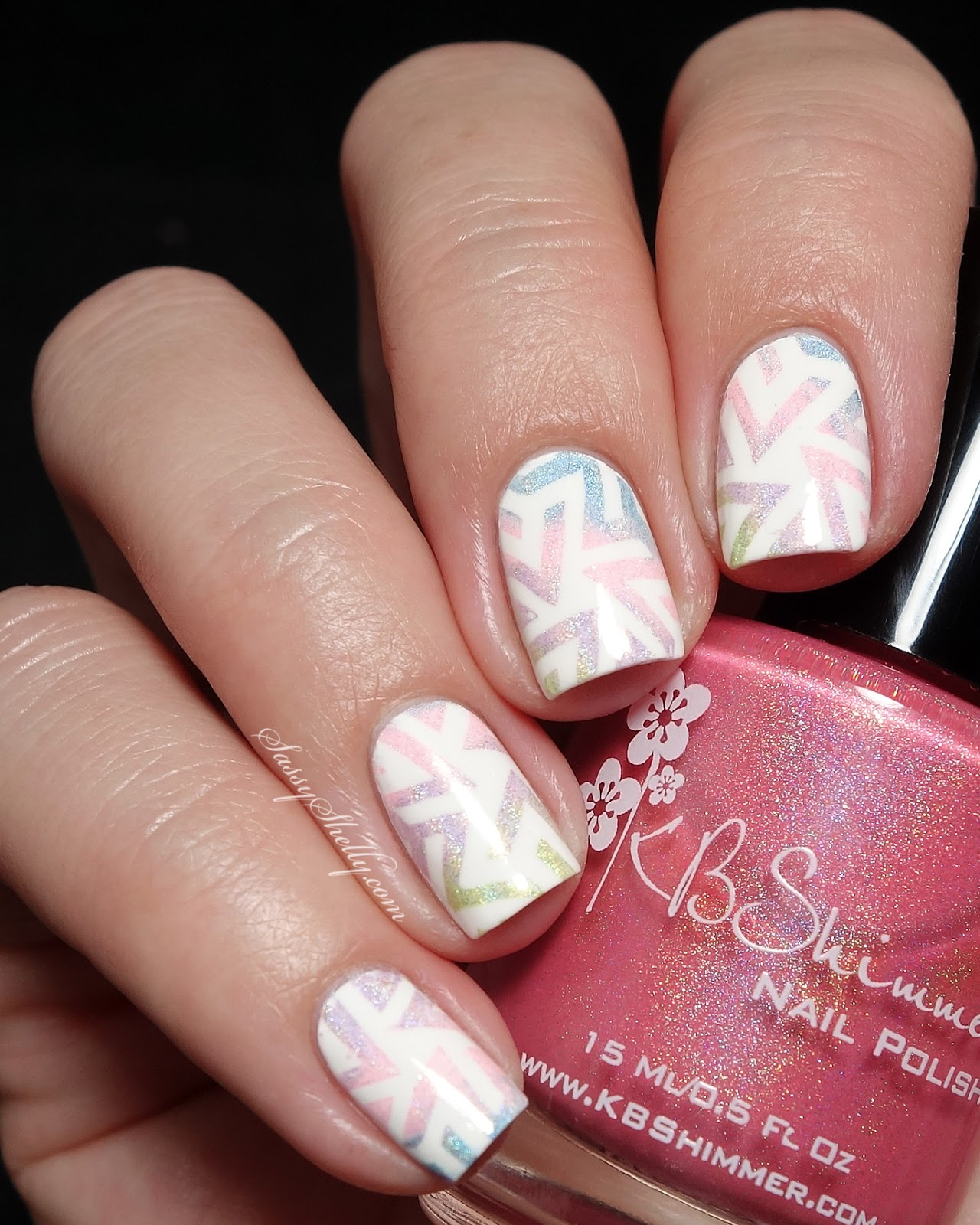 Spring Nail Art geometric gradient stamping with KBShimmer and Pueen by Sassy Shelly - guest post for Kellie Gonzo