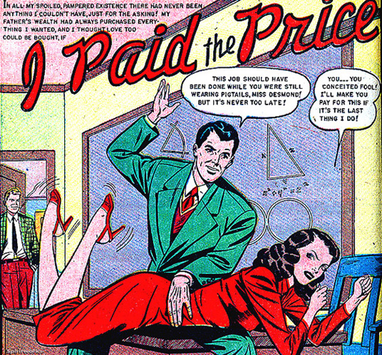 Old comics panel of man with woman across his knees, about to spank, in a classroom