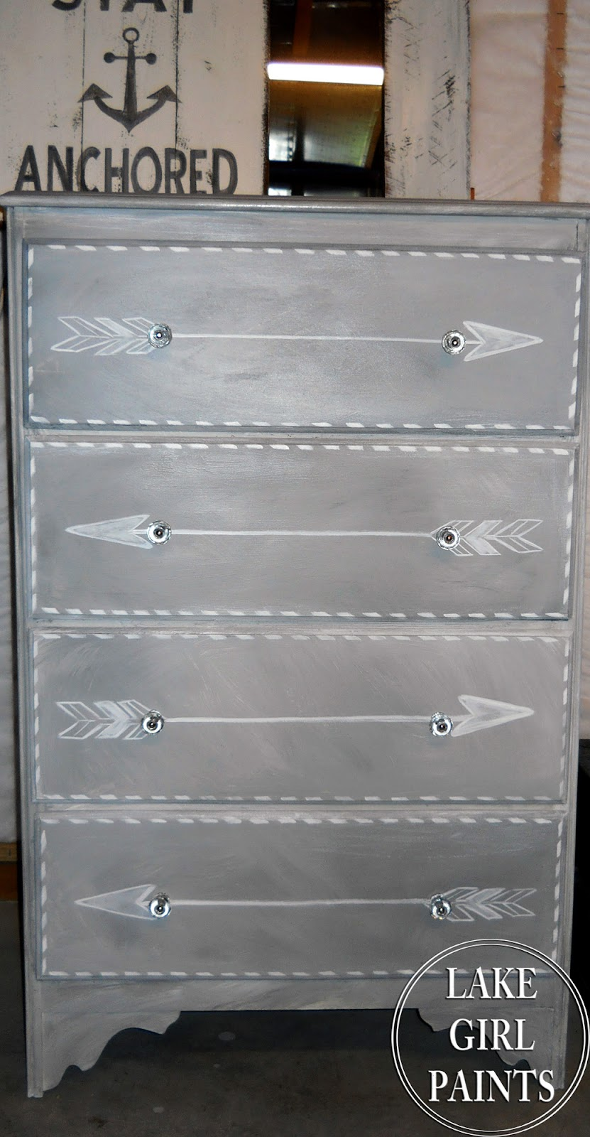 Lake Girl Paints Gray And White Arrow Dresser