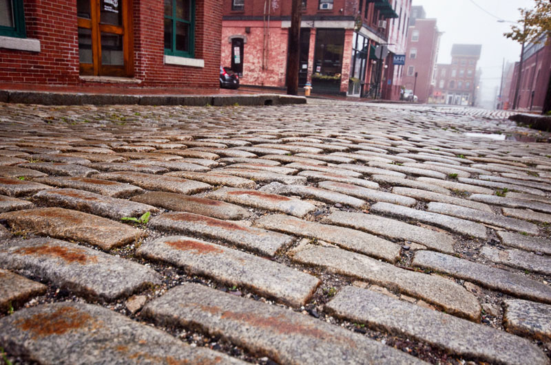 Silver Street Cobblestones in Portland, Maine Old Port photo by Corey Templeton
