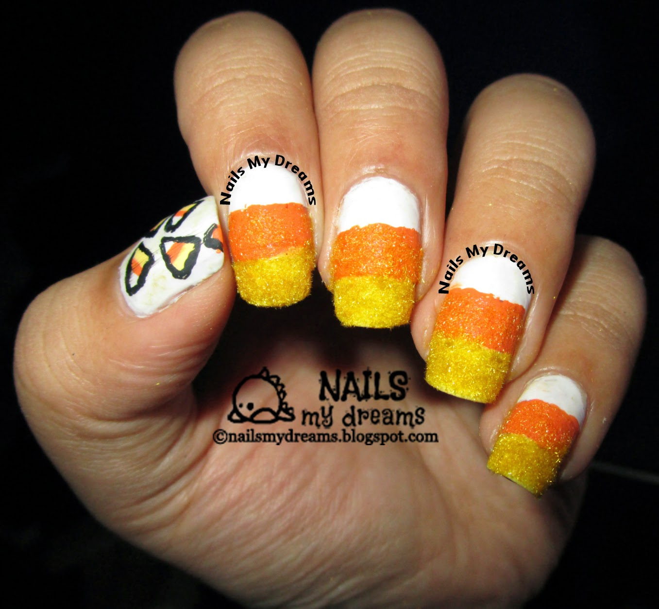 candy corn nail art textured with flocking powder