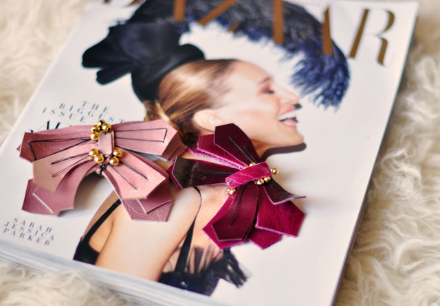 DIY Leather Butterfly Pin inspired by Lanvin, SJP Bazaar Cover