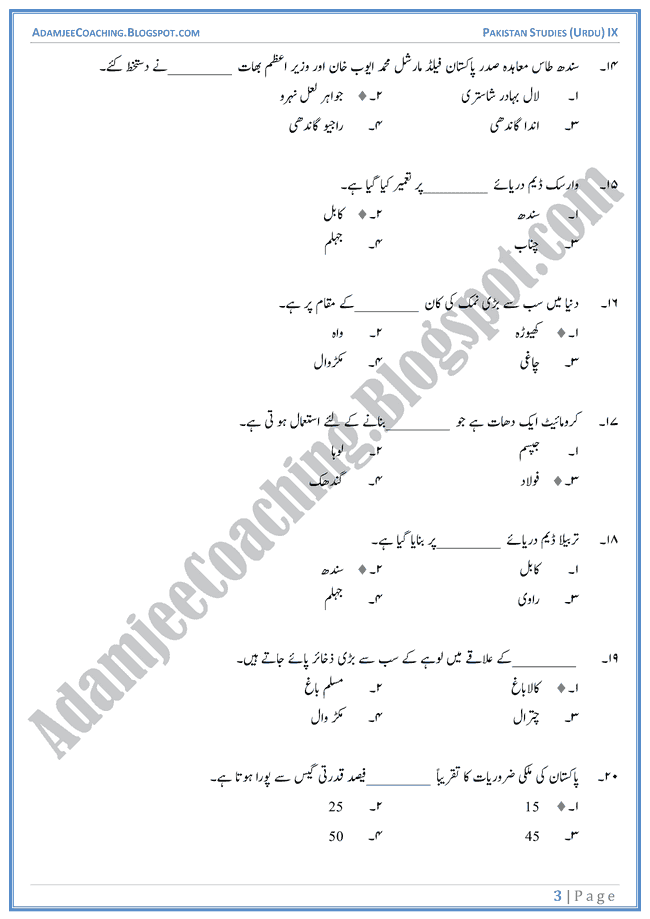 Resources-of-Pakistan-MCQs-Pakistan-Studies-Urdu-IX