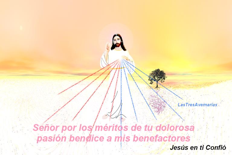 estampa de la divina misericordia con oracion en texto rosado