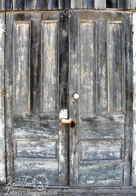 Antique Door with chippy paint in Illinois via KnickofTimeInteriors.blogspot.com