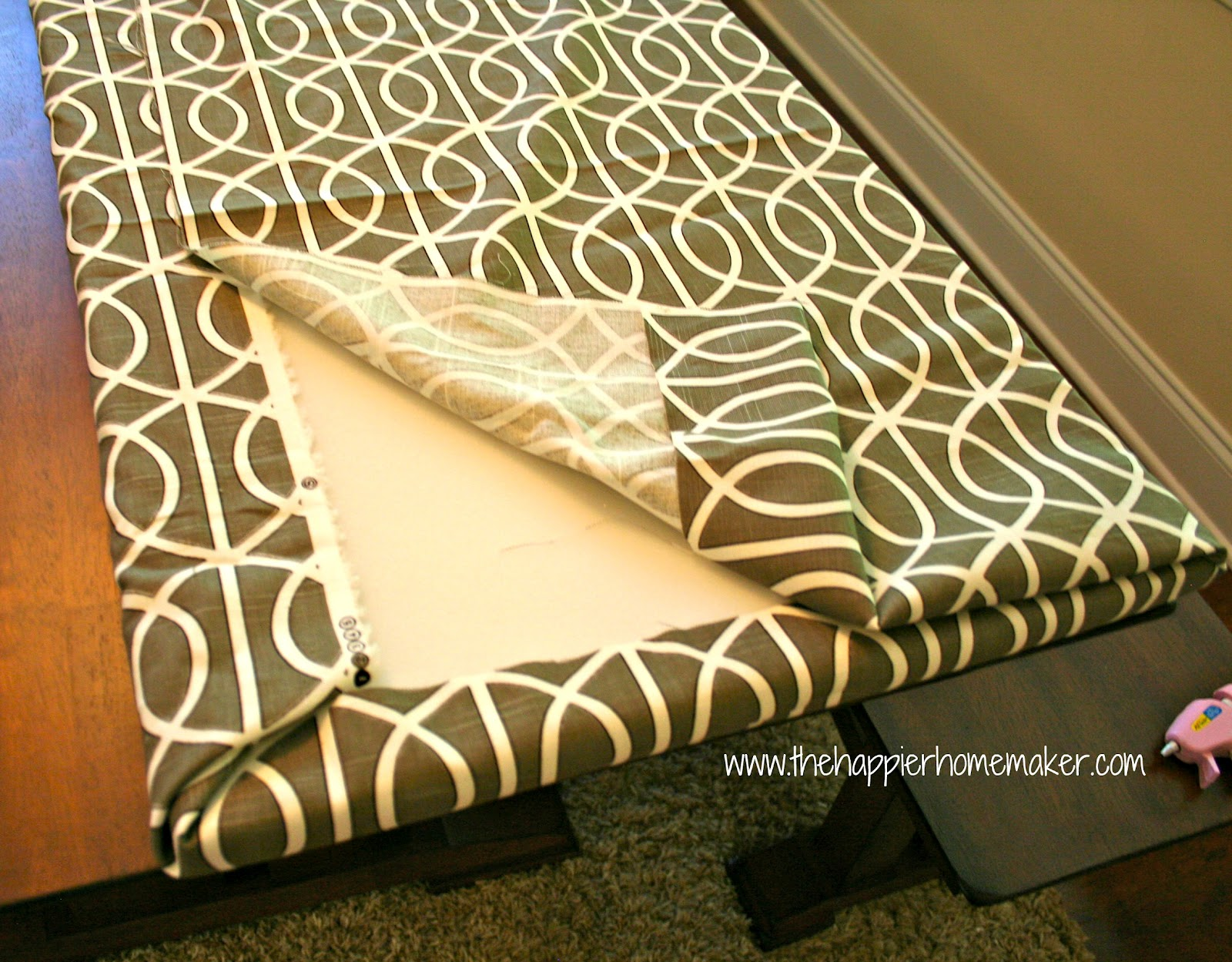 fast no sew bench cushion the happier homemaker. Black Bedroom Furniture Sets. Home Design Ideas