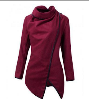 burgundy asymmetrical coat banggood