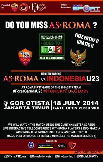 Prediksi Skor (Line-Up) AS Roma vs Timnas U23 (Indonesia Tur Italia) 18 Juli 2014