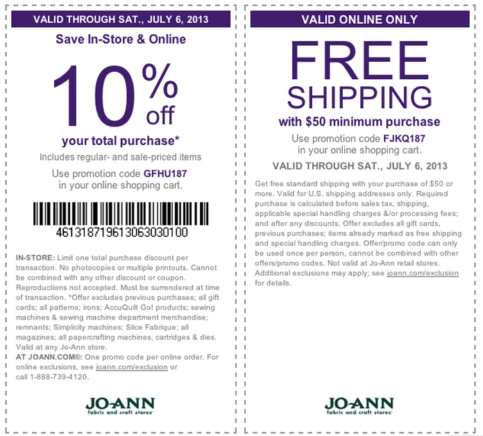 Shipping coupons for hobby lobby